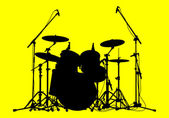 Drums on a yellow background — Stock Vector
