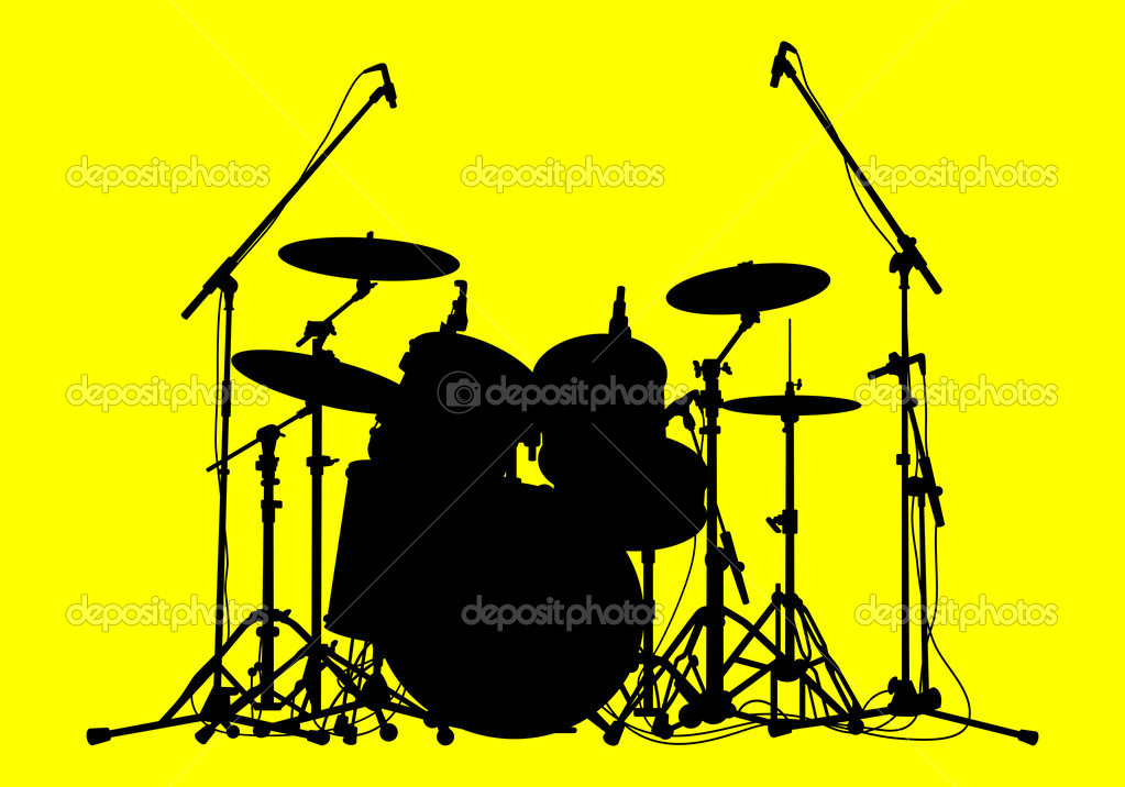 Silhouettes of drums on a yellow background  Stock Vector #6032039