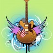 abstracta con guitarra — Vector de stock