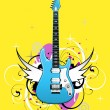 Stock Vector: Abstract with blue electric guitar