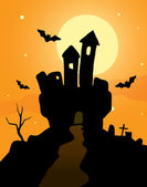Haunted Castle on a orange background — Stock Vector