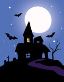 Haunted house on a blue background — Stock Vector