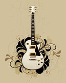 Electric guitar with design elements — Stock Vector