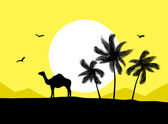 Camel near palm trees in desert — Stock Vector