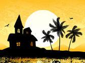 Tropikalne krajobrazy z palmami i zamek — Wektor stockowy