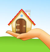Woman's hand is holding small house — Stock Vector