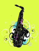 Music abstract with saxophone — Stock Vector