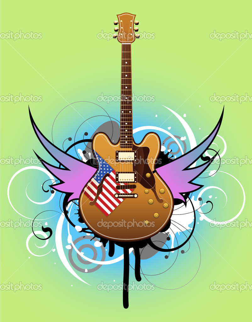 Abstract with beautiful electric guitar — Stock Vector #6676137