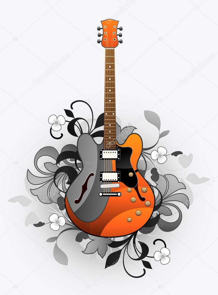 Floral abstract with beautiful electric guitar — Stock Vector #6676158
