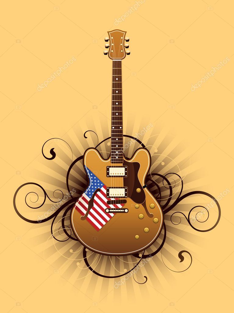 Abstract with beautiful electric guitar — Stock Vector #6676167
