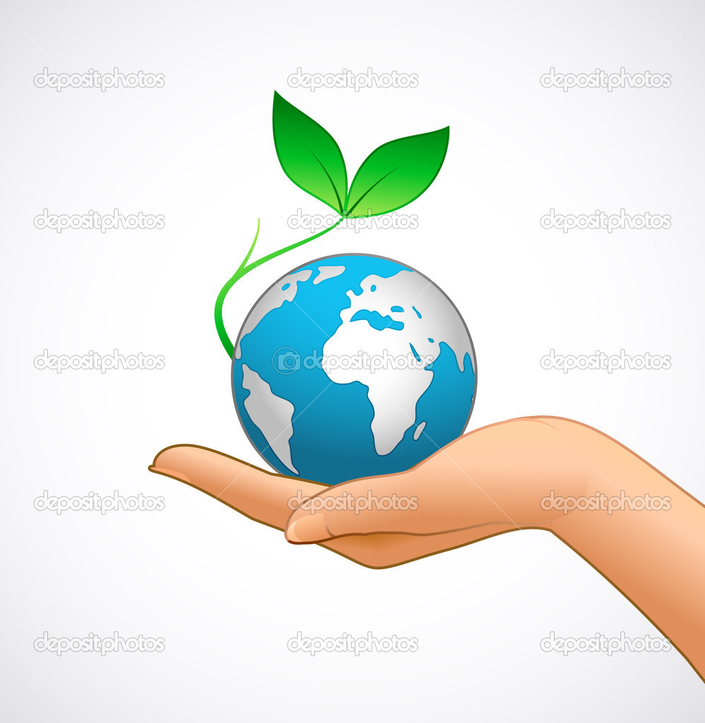 Woman's hand is holding small earth and plantThe base map is from http://www.lib.utexas.edu/maps/world_maps/txu-oclc-264266980-world_pol_2008-2.jpg — Stock Vector #6676188