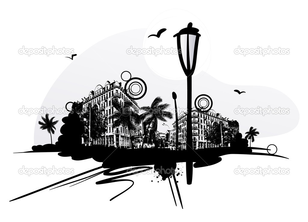 Urban scene with lantern and design elements — Stock Vector #6676332