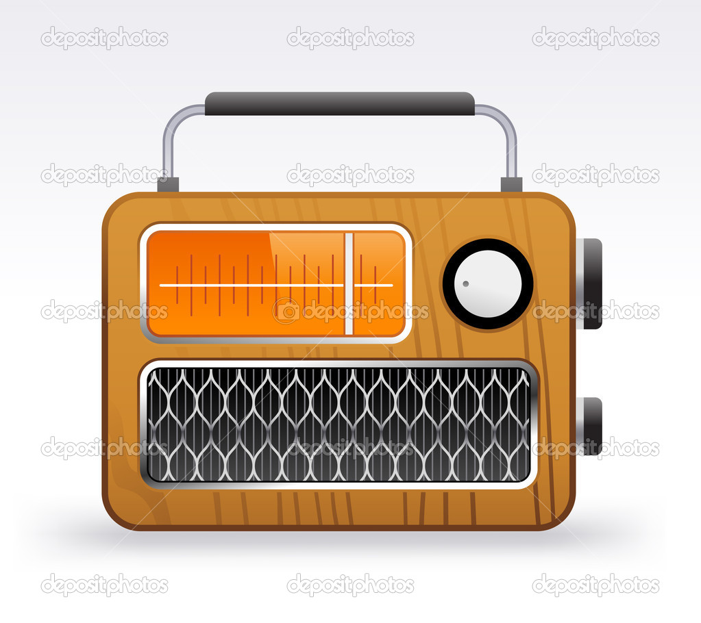 Retro radio on a white background — Stock Vector #6676427
