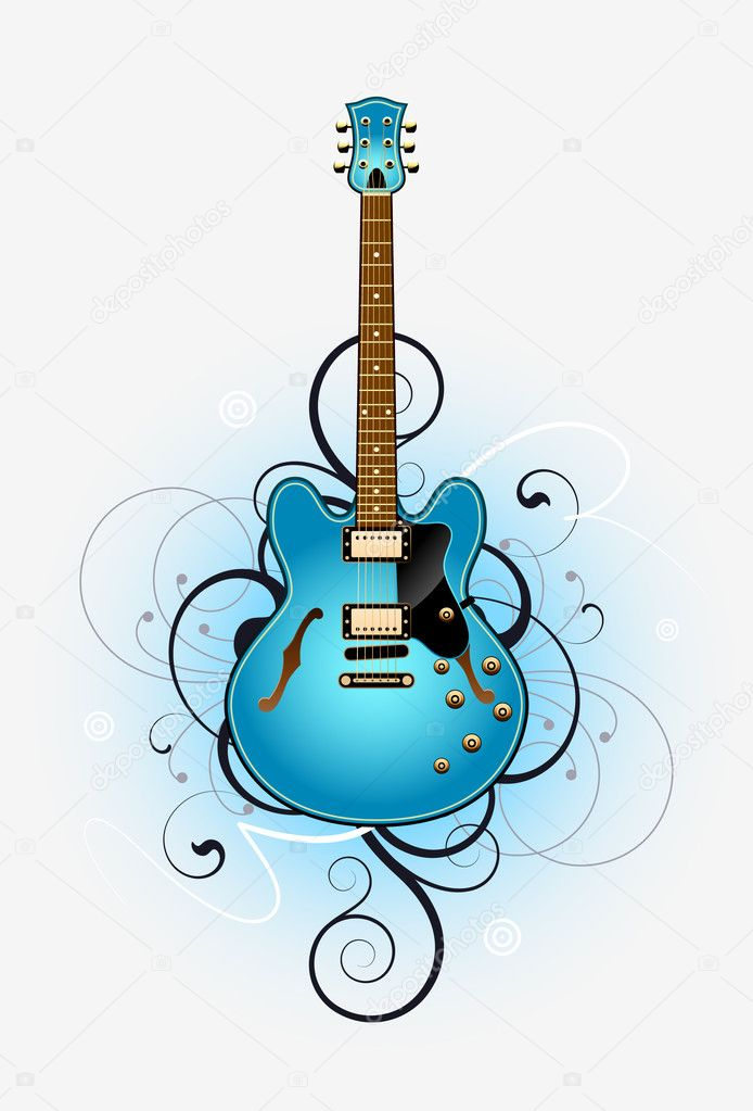 Abstract with blue beautiful electric guitar on a grey background — Stockvectorbeeld #6676445