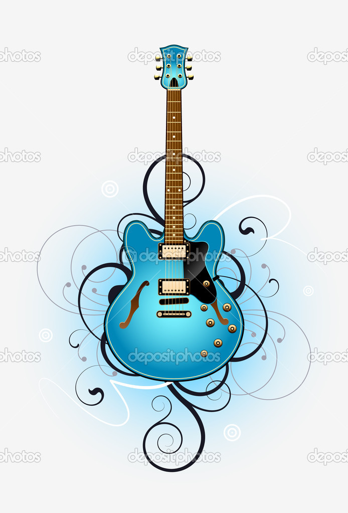 Abstract with blue beautiful electric guitar on a grey background — Vettoriali Stock  #6676445