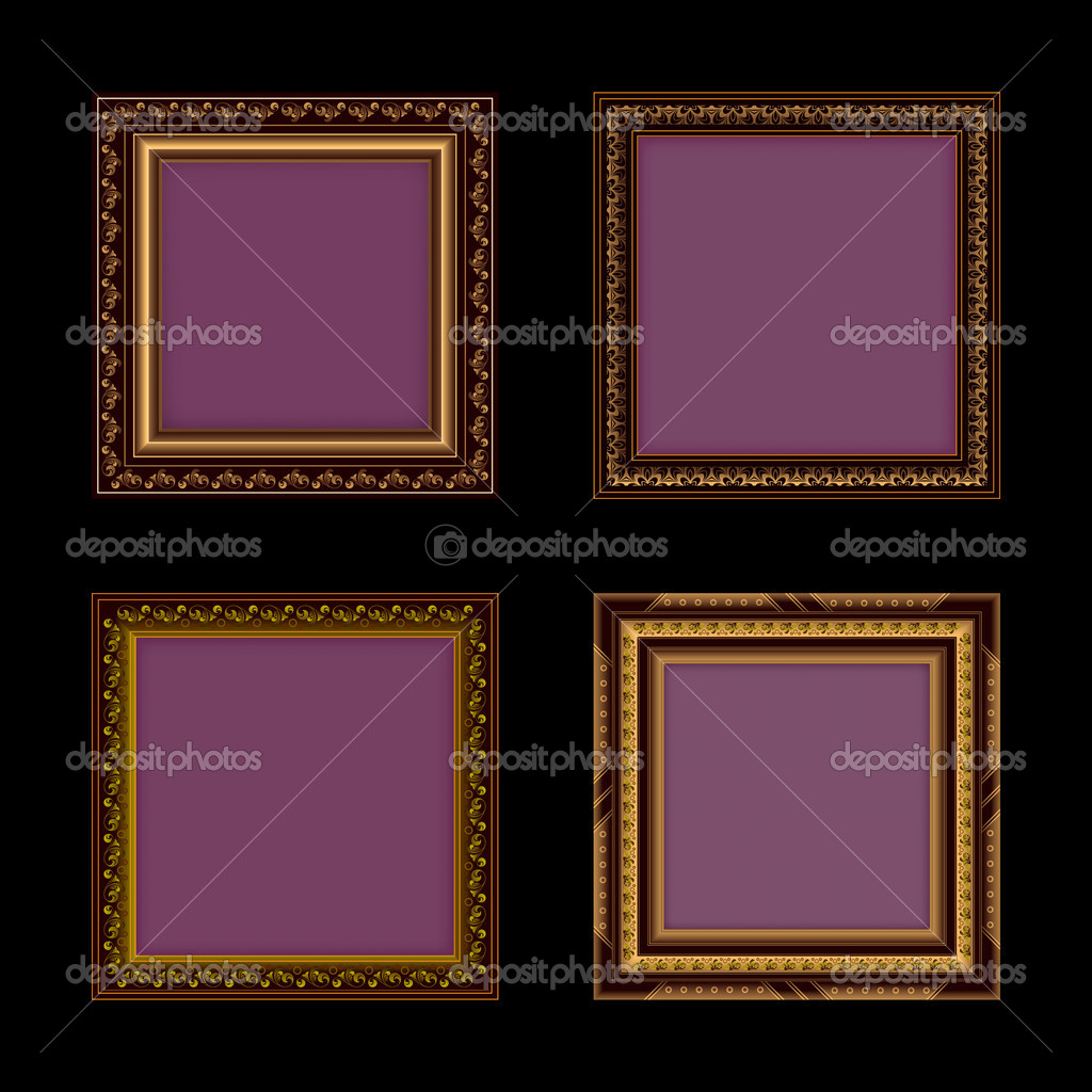 Set of retro frames on a black background  Stock Vector #6676499