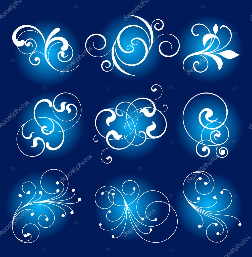 Set of design elements on a dark background — Stock Vector #6676536