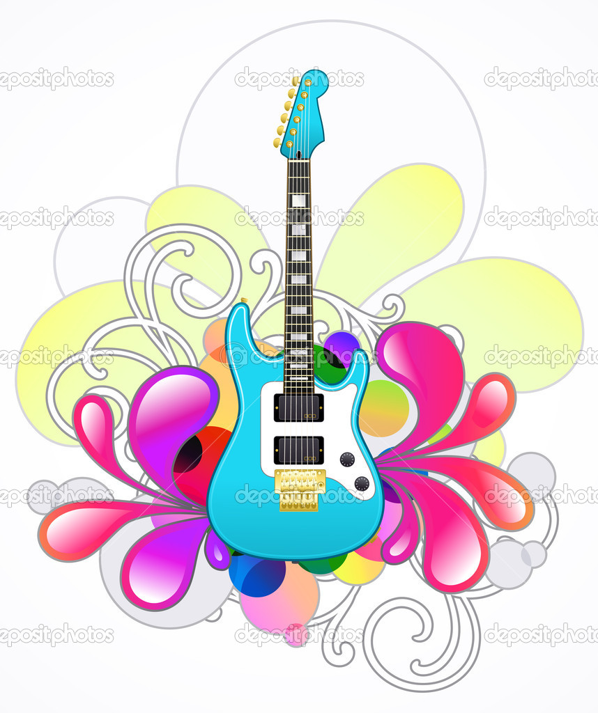 Abstract with blue electric guitar and design elements — Stock Vector #6676769