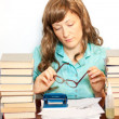 Girl with stack book — Stock Photo
