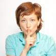 Young lady making silence sign — Stock Photo #6026929