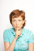 Jovencita haciendo señal de silencio — Foto de Stock