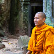 A monk sits on ruins of the Wat Ta Phrom temple at Angkor Wat in Cambodia - Stok fotoraf