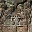 Ancient carving in Bayon temple showing playing in chess, Angkor wat — Stok Fotoğraf #5750651