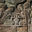 Foto de Stock  : Ancient carving in Bayon temple showing playing in chess, Angkor wat