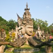 Buddha statues at the beautiful and bizarre buddha park in Vientiane, Laos. — Stock Photo
