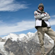 Climber standing on the top of Kongma La pass with mountain range of Khumbu — Stock Photo