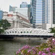 Anderson bridge in Singapore with The Fullerton Hotel on background. — Stok fotoğraf