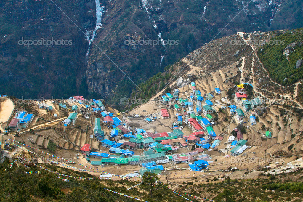 Sherpa village of Namche Bazar located in Khumbu (Everest) region, Nepal.  Stock Photo #5751352