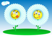 2 Funny flowers — Stock Vector