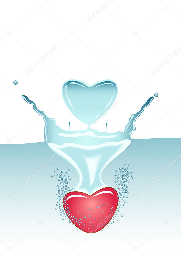 Illustration of two hearts. One in water, another in the form of splashes. — Stock Vector #5625702