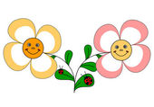 2 legrační květiny a berušky — Stock vektor