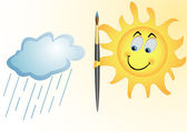 The sun and rain cloud — Stock Vector
