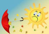 The sun with an umbrella — Stock Vector
