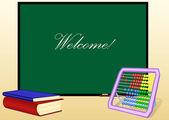 Skolans styrelse och böcker och abacus — Stockvektor
