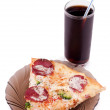 Slice of pizza and cola — Stock Photo