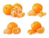 Set of ripe tangerine with slices — Stock Photo