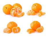 Set of ripe tangerine with slices — Stock Photo