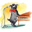 Shaggy dog singing — Stock Photo #5381195