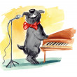 Shaggy dog singing — Stock Photo