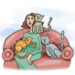 Woman with cats — Stock Photo
