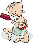 Baby boy destroying the clock — Stock Vector
