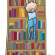 Stock Vector: Baby boy climbing on bookcase