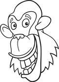 Chimpanzee for coloring book — Stock Vector