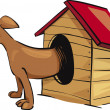 Stock Vector: Dog in kennel