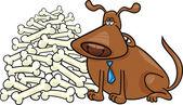 Dog with many bones — Stock Vector