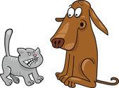 Kitten and dog — Stock Vector